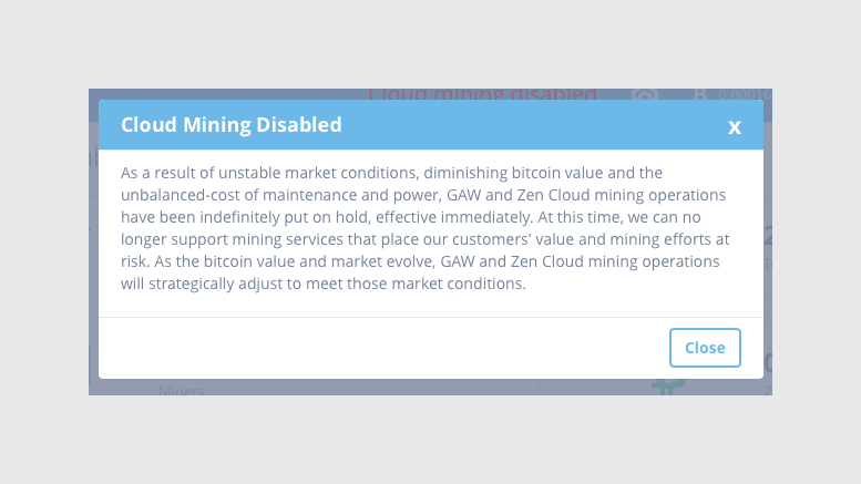 Zenminer Cloud Mining Disabled - Indefinitely Put On Hold