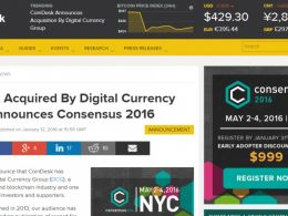 Digital Currency Group Acquires News Outlet CoinDesk
